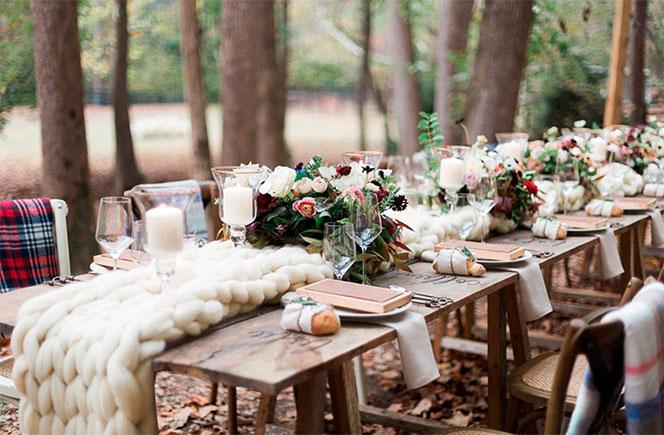bodas en invierno mesa