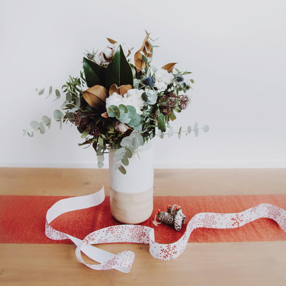 cchristmas dream, ramo de navidad con algodón y rosas de Colvin