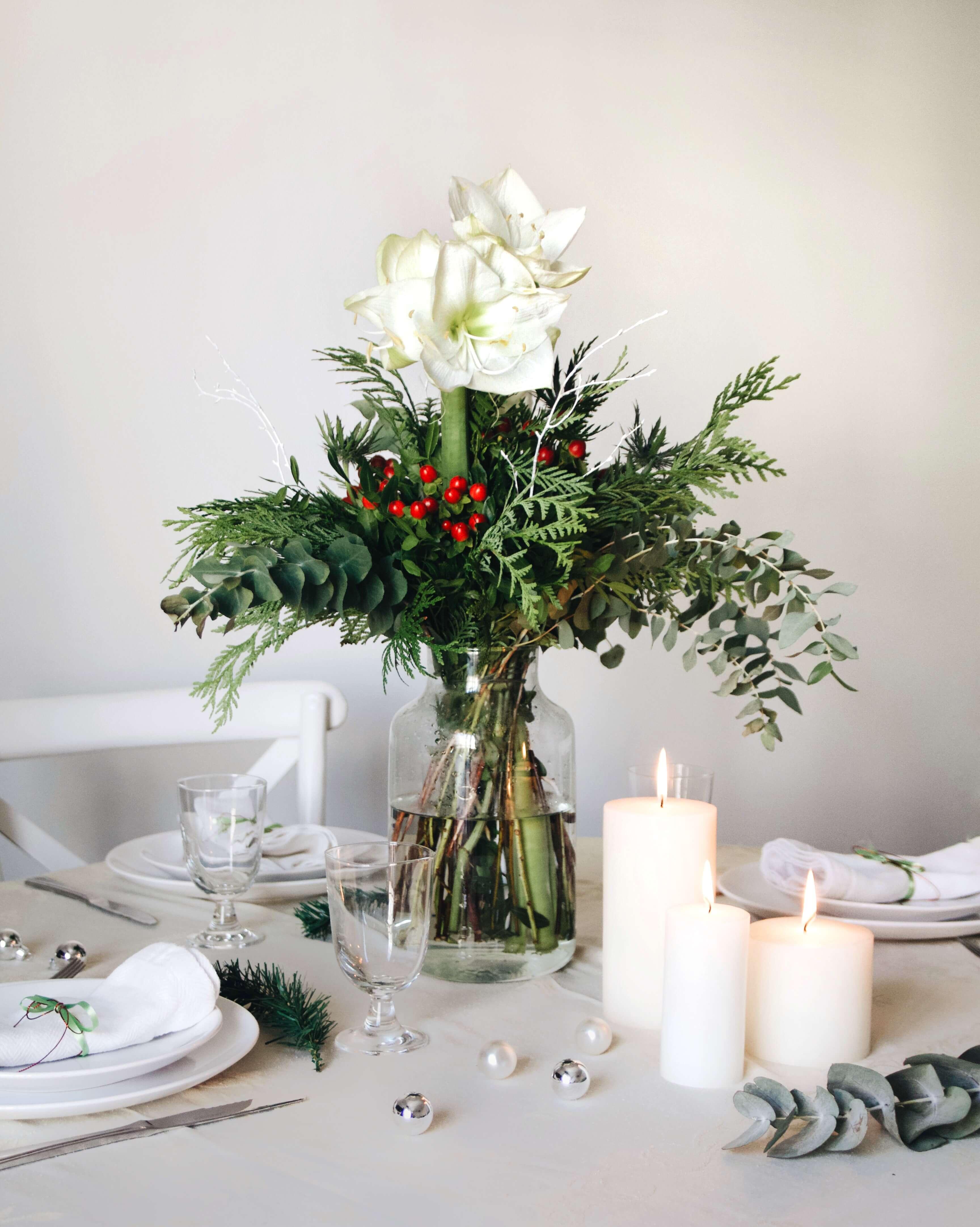 ramo de navidad con amaryllis blancas, snow ball Colvin