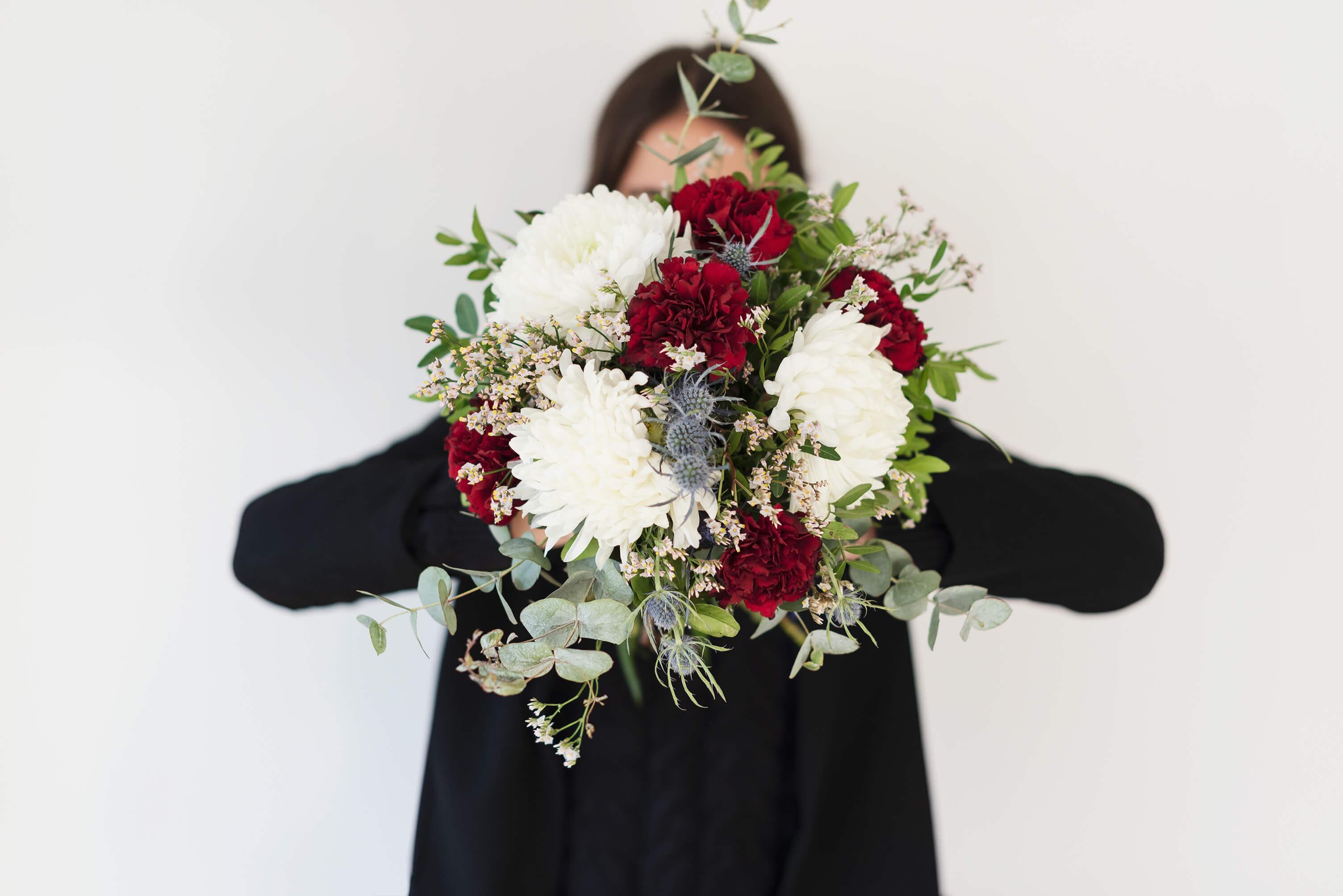 Natural, ramo de crisantemos blancos para san valentin