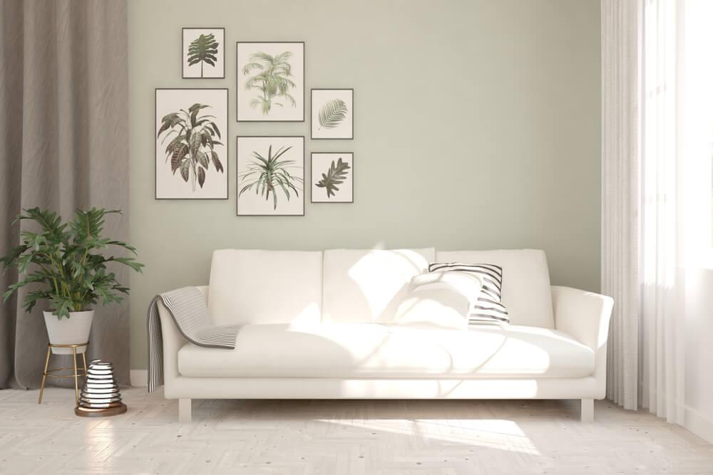 decoración minimalista sofá