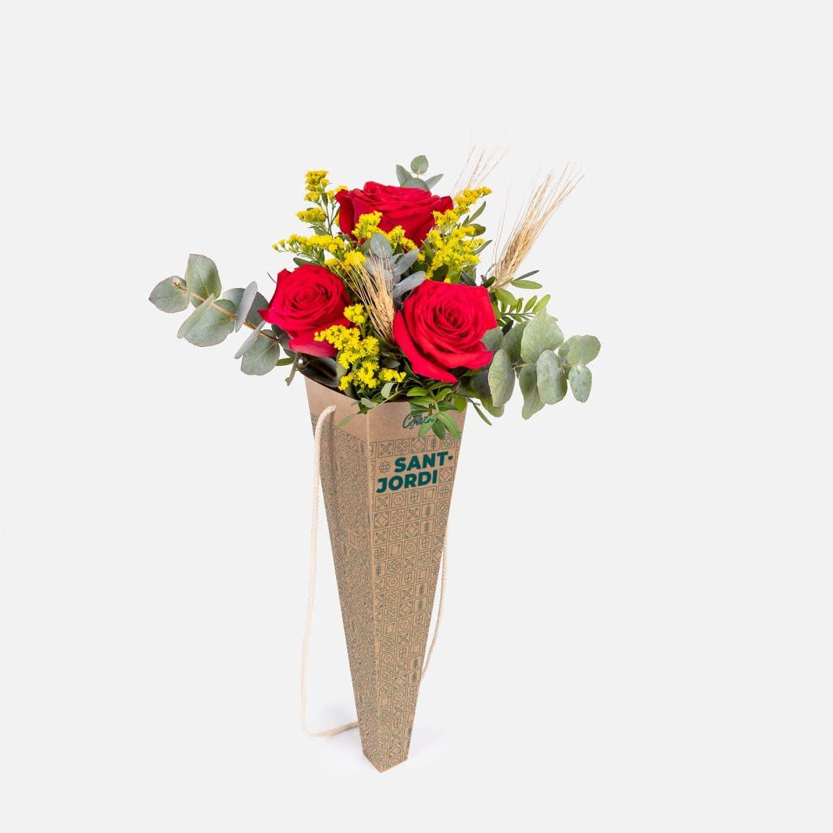 ramo de 3 rosas rojas sant jordi